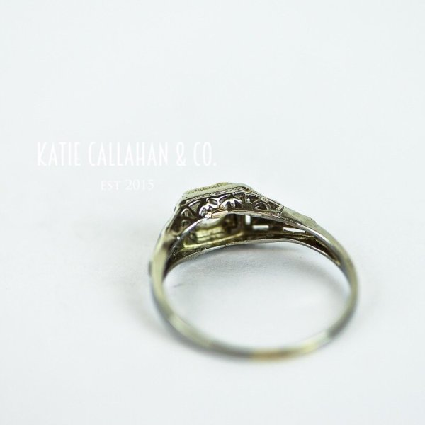 Edwardian 18K White Gold and Old European Cut Diamond Engagement Ring