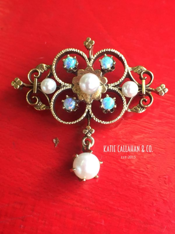 Victorian 14kt Yellow Gold, Opal and Cultured Pearl Brooch/Pendant (Antique)