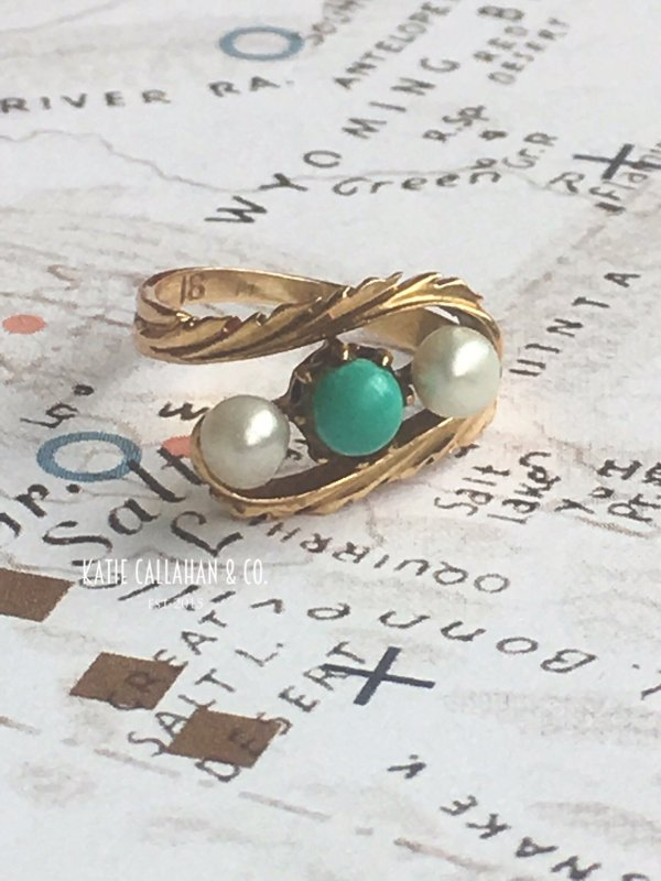 Victorian Pearl and Turquoise 18kt Yellow Gold Ring (Antique)