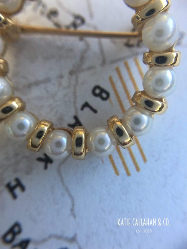 Retro 14kt Yellow Gold Cultured Pearl Brooch (Vintage)