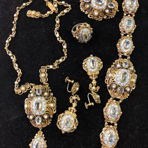 Turn of The Century Austro-Hungarian Aquamarine, Pearl and Enamel Parure (Vintage)