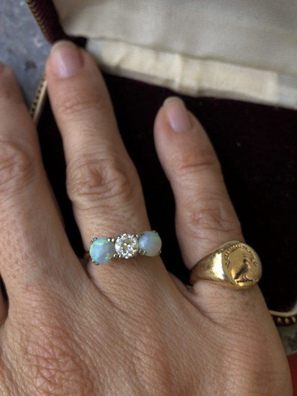 Vintage 14kt Yellow Gold Opal and Diamond Three Stone Ring