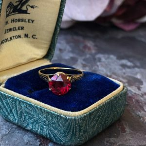 Victorian 14kt Yellow Gold Synthetic Ruby Ring (Vintage)