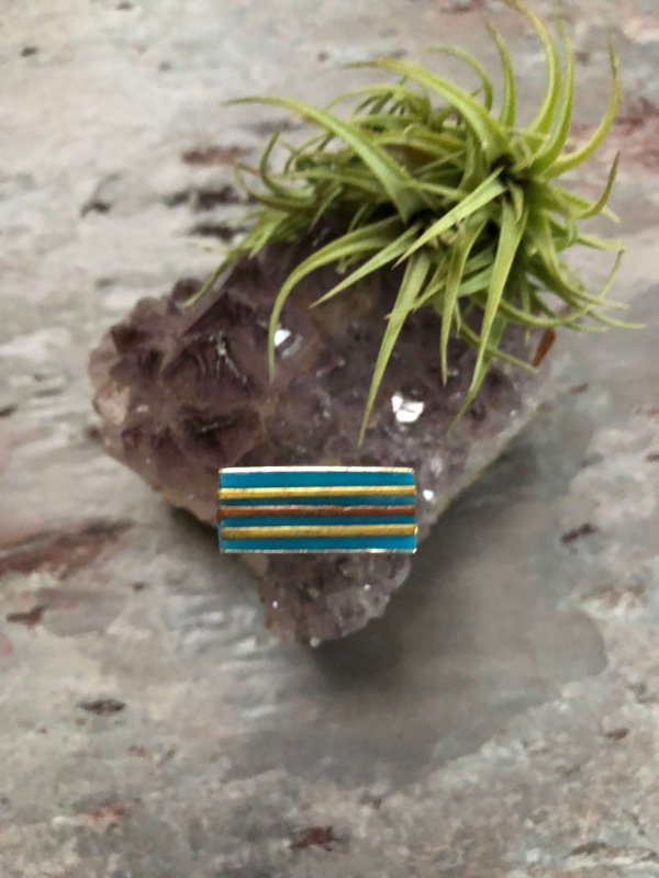 "Vintage Retro Sterling Silver and Enamel ""Square"" Ring (Mexico)"