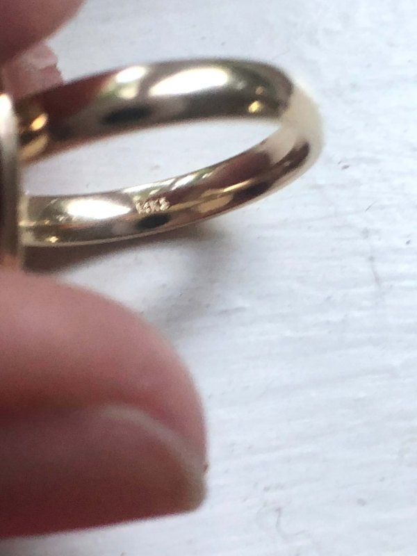 Riker Brothers 14kt Yellow Gold Hand Engraved Converted Vintage Cufflink Ring