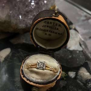 1940s 14kt Two-Tone Diamond Solitaire Engagement Ring (Vintage)