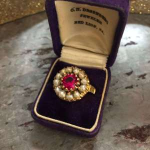 Retro Ruby and Freshwater Pearl Halo Ring (Vintage)