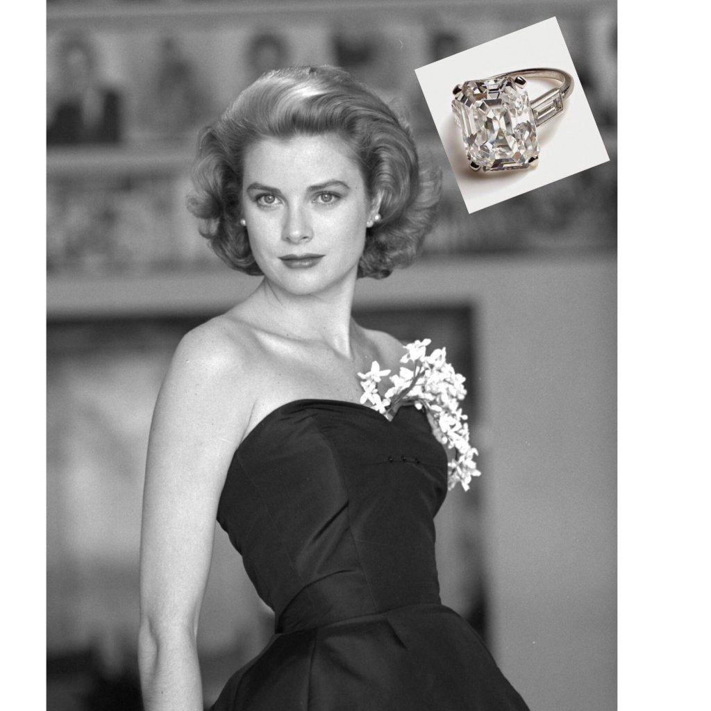 Grace Kelly, soon to be Princess Grace of Monaco, with her second engagement ring (inset)