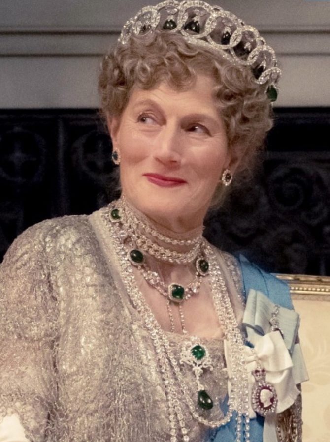 """""""Queen Mary"""" in the Downton movie, wearing a replica of the The Grand Duchess Vladimir Tiara"""