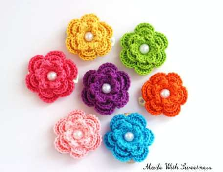 Crochet Flower Hair Barrette Choose Your Own Color by Made With Sweetness