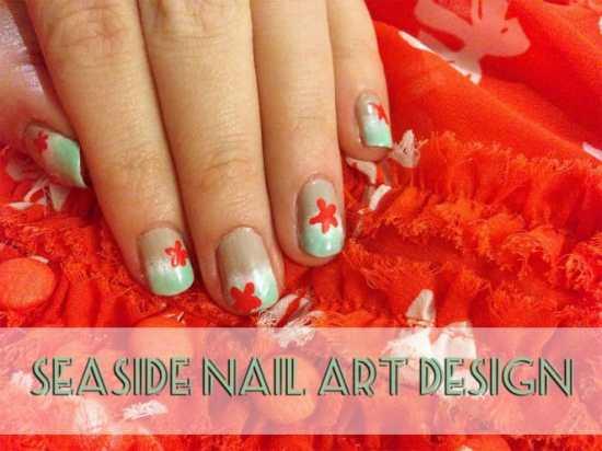 Seaside Nail Art Design by Katie Crafts; http://www.katiecrafts.com