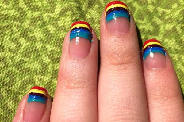 Nail Art Design: Rainbow Tips by Katie Crafts; https://www.katiecrafts.com