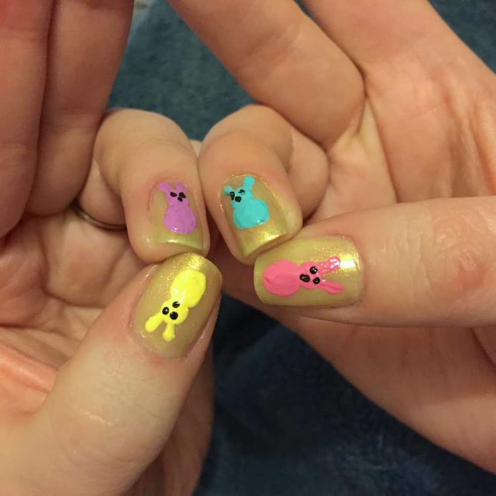 Easter Nail Art: Peeps! by Katie Crafts; http://www.katiecrafts.com