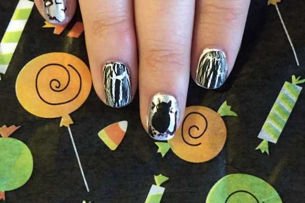 Tombstone Nail Art Tutorial for Halloween on Katie Crafts; https://www.katiecrafts.com