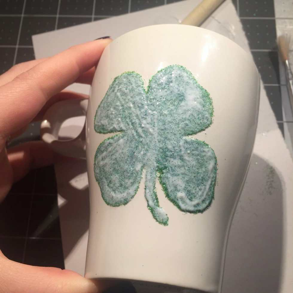 DIY Glitter Mug Tutorial on Katie Crafts; http://www.katiecrafts.com