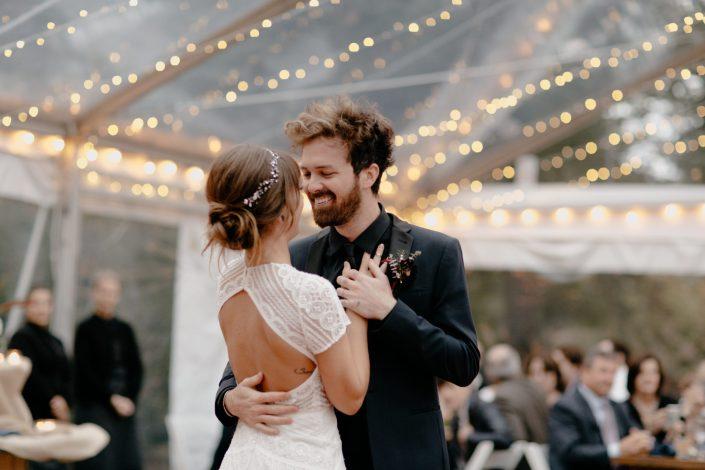 hipster Massachusetts backyard wedding with bistro lights and watters dress