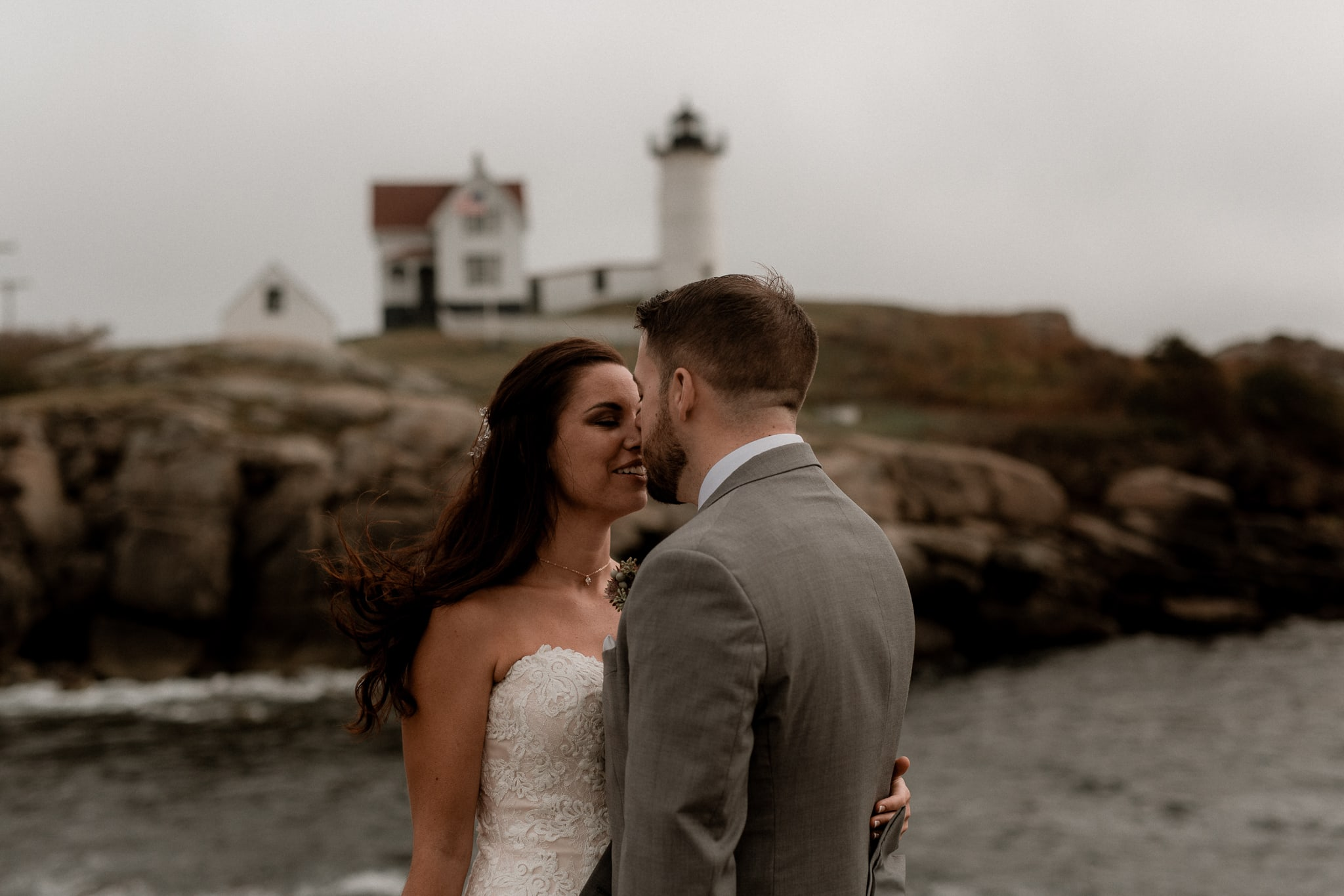 Nubble Lighthouse Wedding York Maine - Katie Jean Photography