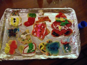 My younger nephew's cookies...I'm guessing that sleigh covered in all that white frosting was one sweet cookie!