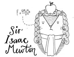 Isaac Newton cat pun illustration
