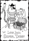 cat pun the punderful world of cats illustration colouring in coloring in page A4 free print out pirate long john silver