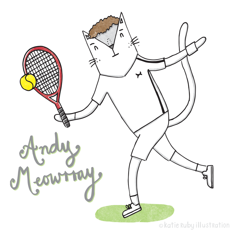 Andy Murray Cat pun illustration
