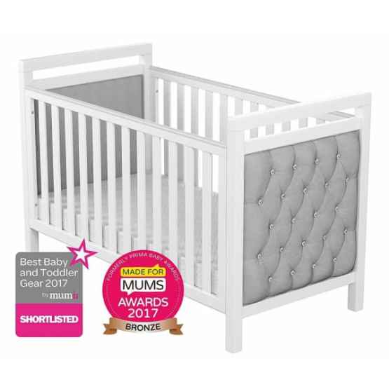 Babymore Velvet Deluxe Cot Bed White – Including Katy® Superior Deluxe Sprung Mattress