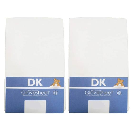 DK Fitted Sheet 100% Combed Jersey Cotton 84 x 38 cm White – 2 Pack