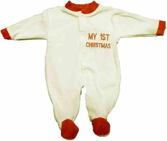 My 1st Christmas Velour Premature Babygrow- Cream