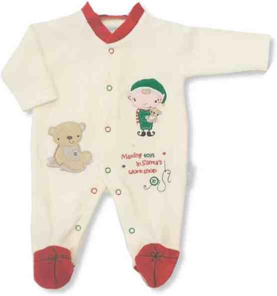 Baby Velour Christmas 'Making Toys In Santas Workshop' Cream All In One Sleep Suit