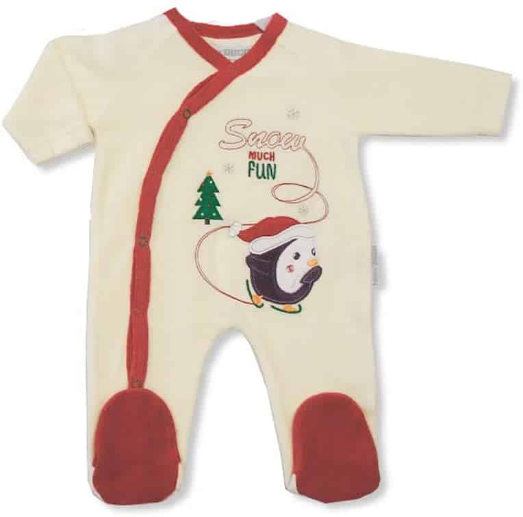 Baby Velour Christmas 'Snow Much Fun' Cream All In One Sleep Suit