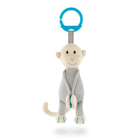 Matchstick Monkey Knitted Hanging Monkey- Blue Ring