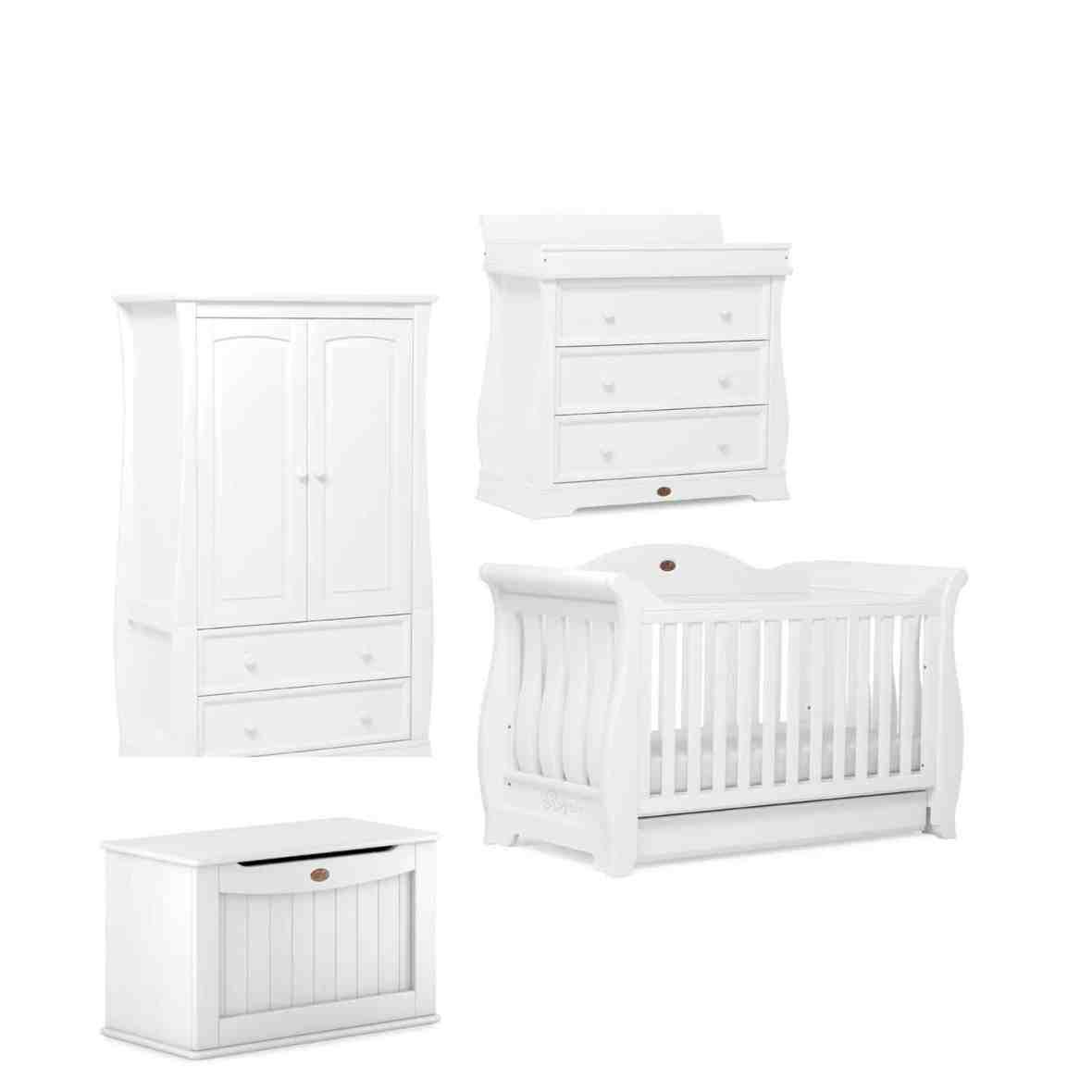 Ex-Display Boori Sleigh Royale 4 Piece Set (Inc Cotbed, Dresser, Wardrobe & Toy Box & Katy Sprung Mattress- White