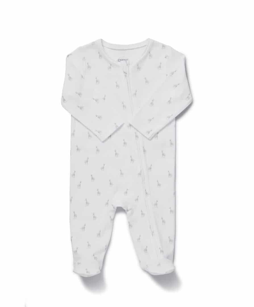 Mamas & Papas Giraffe All Over Print Zip Babygrow