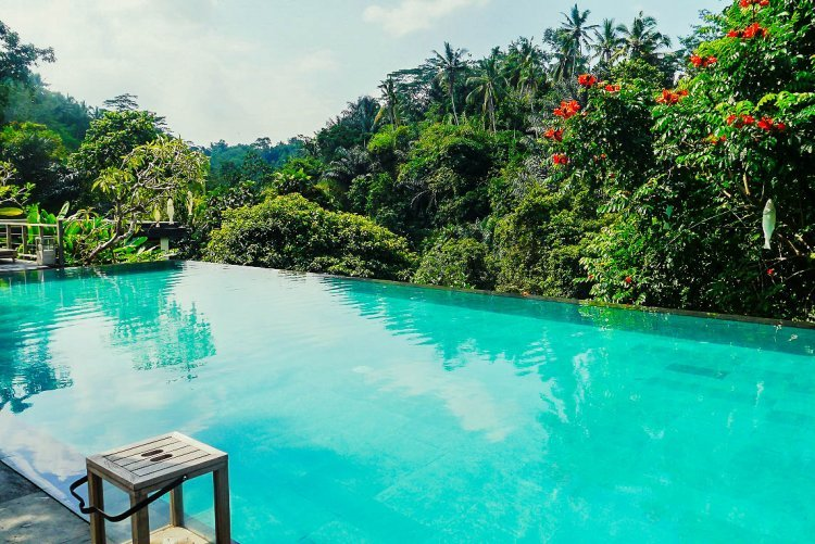 Image of turquoise blue water filled infinity pool overlooking jungle