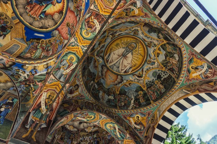 Close up of the decorative painted ceilings of the church building in Rila Monastery, Bulgaria