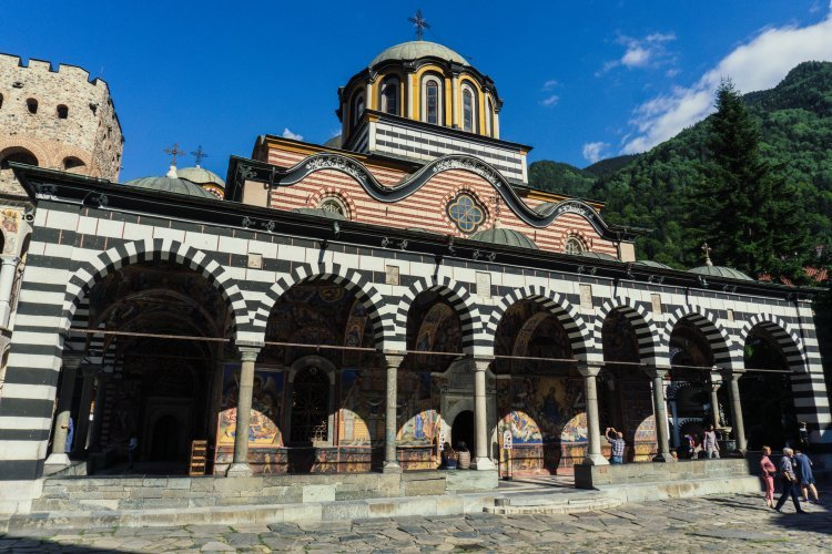 Main church building of Rila Monastery in Bulgaria