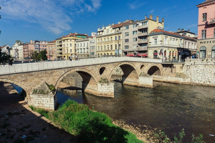 Bridge where Archduke Ferdinand was assassinated in the centre of Sarajevo city