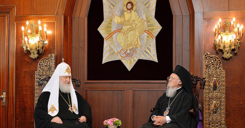ISTANBUL, TURKEY - AUGUST 31, 2018: Patriarch Kirill of Moscow and All-Russia (L), head of the Russian Orthodox Church, and Patriarch Bartholomew I of Constantinople of the Eastern Orthodox Church during a meeting. Press Office of the Patriarch of Moscow and All-Russia/TASS