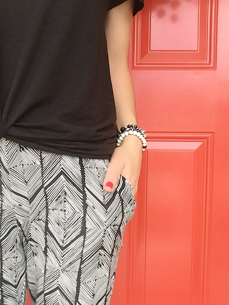chevron printed joggers DEX and arm party