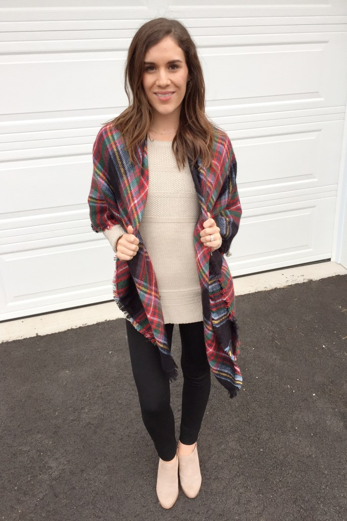how to tie a blanket scarf as a vest for fall