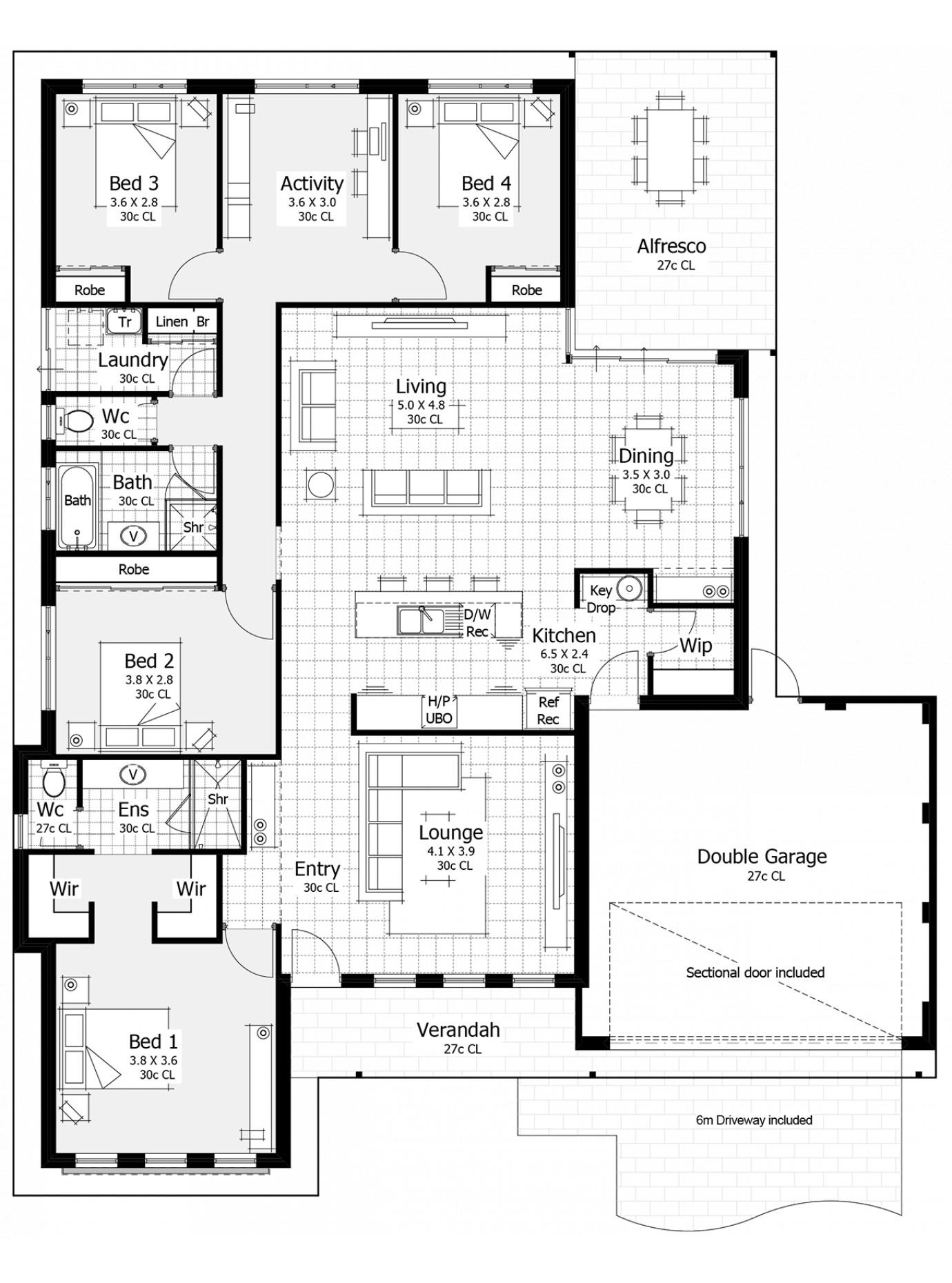 Floor Plan Friday Master At Front Key Drop Area Open Plan