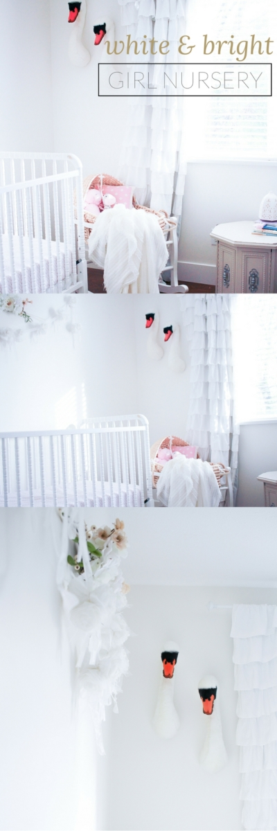 white and bright baby girl nursery
