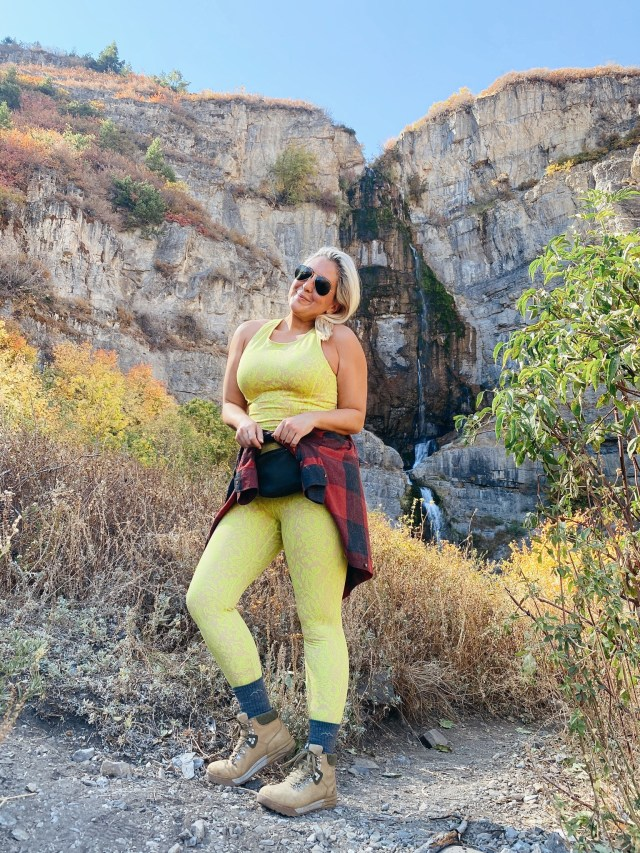 Fashion and lifestyle blogger KatWalkSF wearing Sweaty Betty and Forsake Hiking Boots at Stewart Falls in Utah