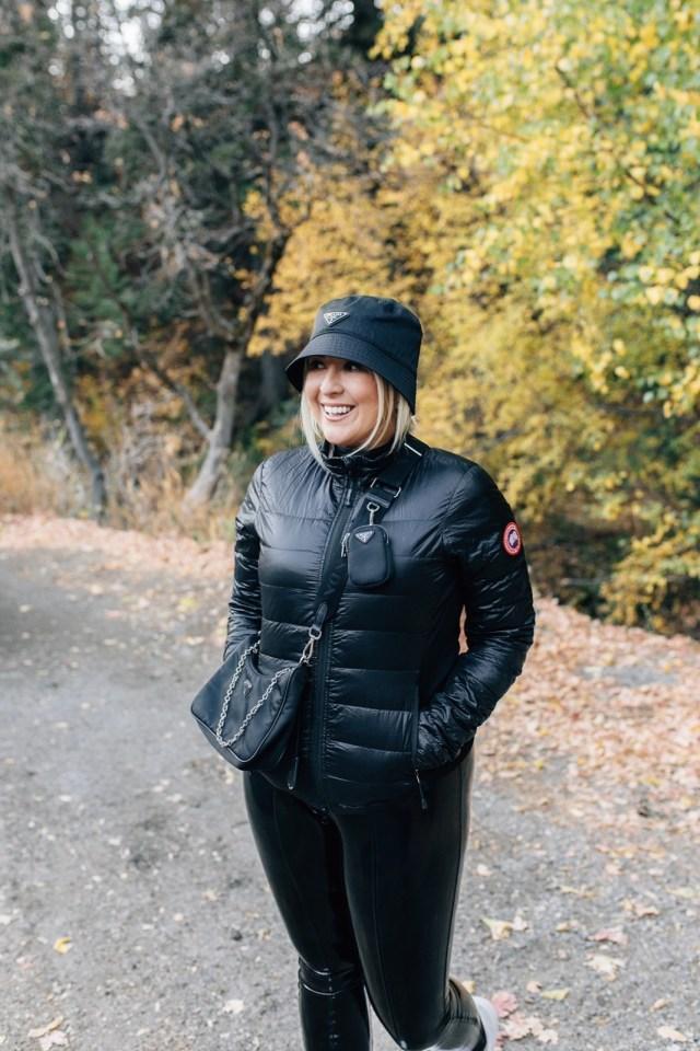Kat Ensign of Katwalksf wearing the prada nylon bucket hat and prada re-edition bag in Sundance, Prada Nylon Bucket Hat, KatWalkSF, Prada Re-Edition Review, Prada Review, Kat Ensign, Canada Goose Jacket, Prada Review, Prada Nylon Bag