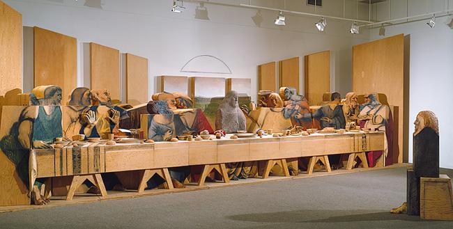 Self-Portrait Looking at The Last Supper - Marisol Escobar, 1984