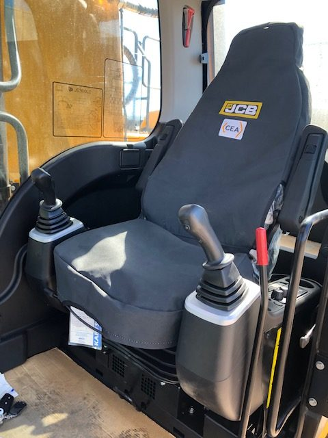 Canvas seat cover for a JCB Tracked Excavators