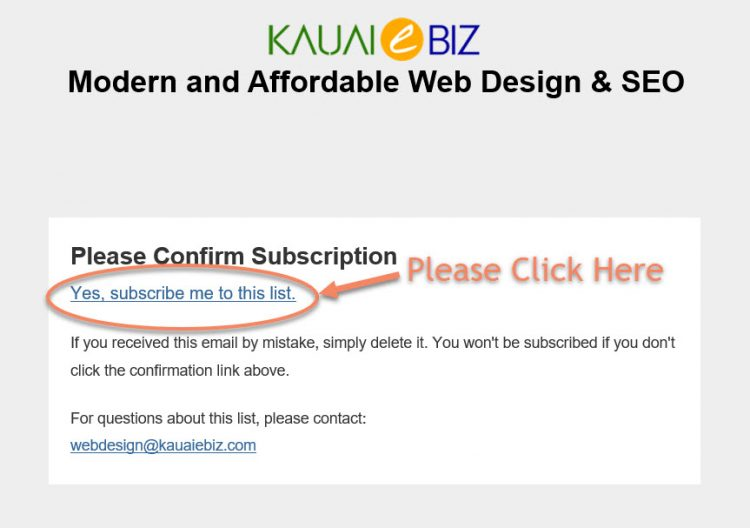 Newsletter Confirmation