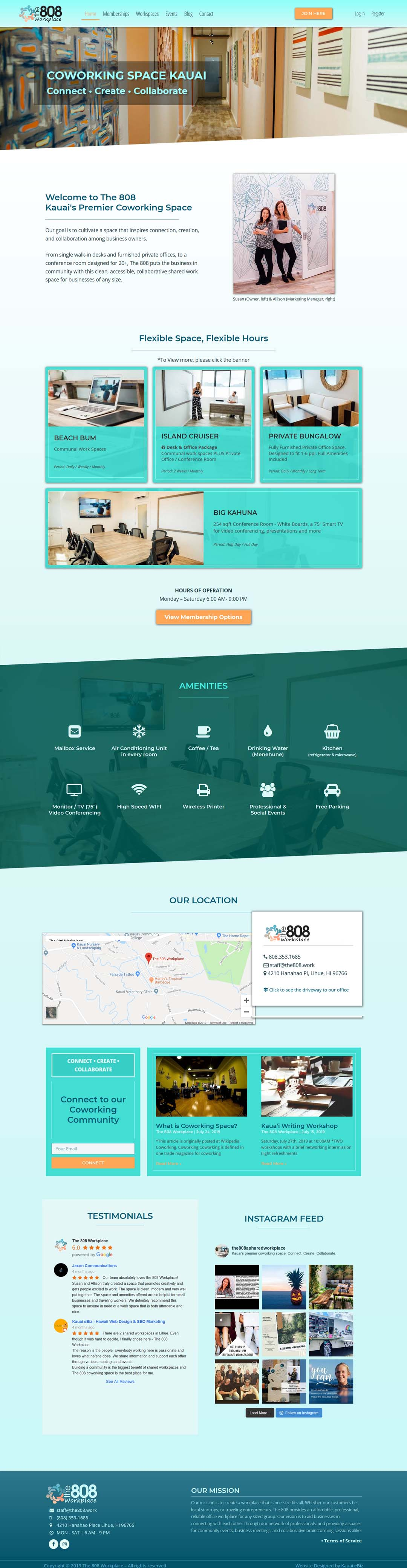The 808 Coworking Space Kauai website