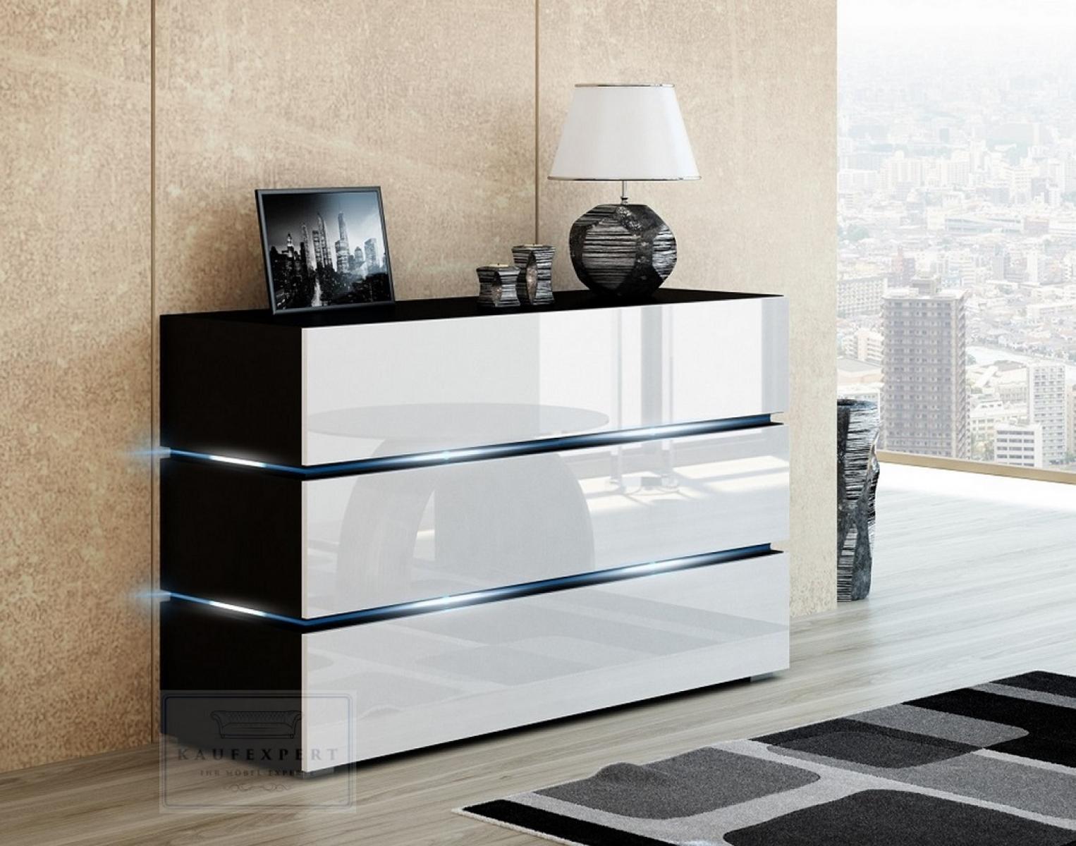 kommode shine sideboard 120 cm weiss hochglanz schwarz led beleuchtung modern design tv mobel anrichte sigma