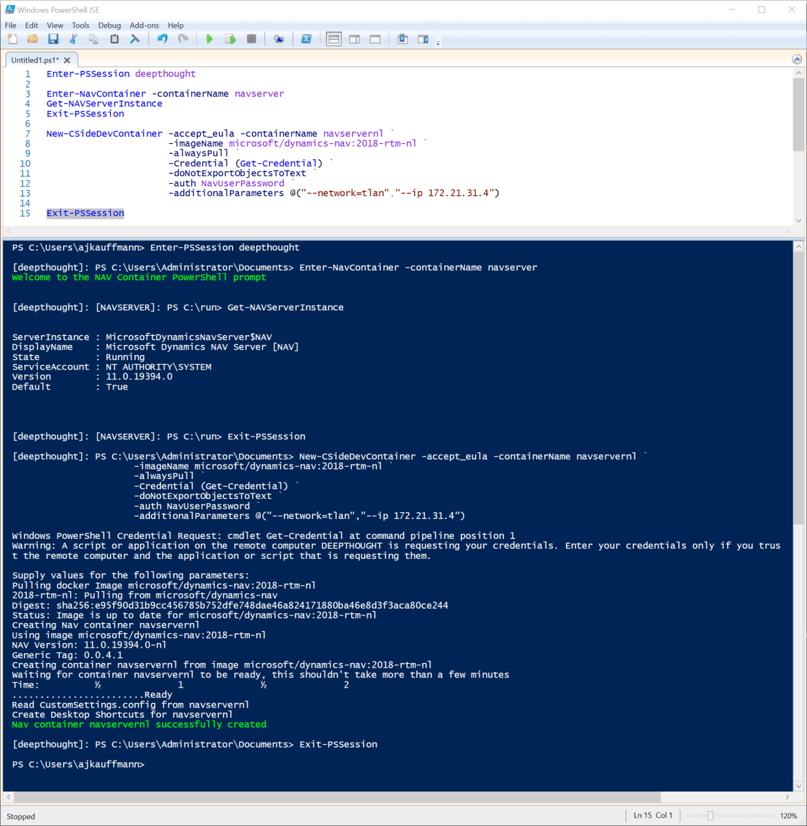 Running NAV docker containers on a local Hyper-V Virtual